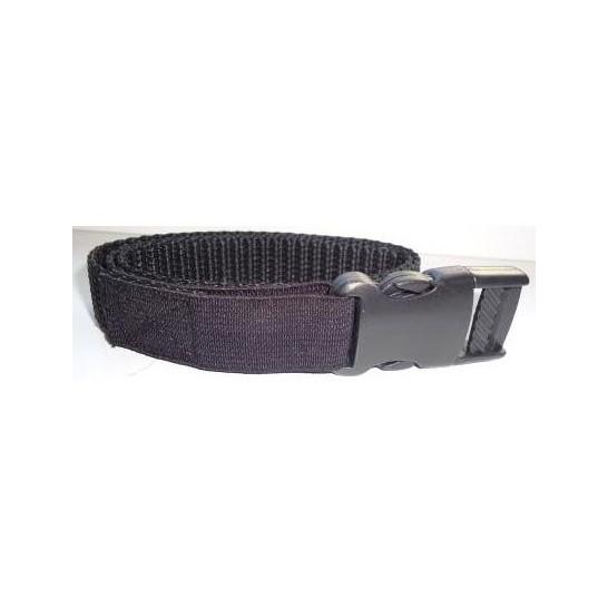 Sangle nylon avec élastique anti-étranglement - Largeur 20 mm - Noire